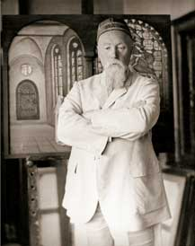 "N. Roerich by his painting ""Glory to Hero"". 1933 or later"