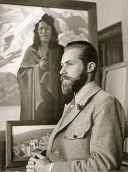 S. Roerich by his painting Karma Dorge. 1930s