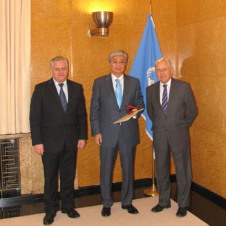 In the UN Office at Geneva:  Mr. Alexander V. Stetsenko, First Deputy Director General of tne Museum named after Nicholas Roerich, Mr. K.G. Tokaev, Director of the UN Office at Geneva, Deputy Secretary General of UNO and Mr. Alexander P. Losyukov, President of the Committee for the Preservation of the Roerichs' Heritage