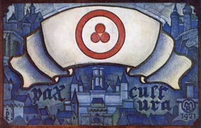 "A postcard by N. Roerich design ""Pax Culture"". 1931"
