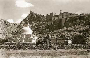 Big stupa in Sheh. Tibet. The photograph is taken during the Central-Asian expedition. 1925